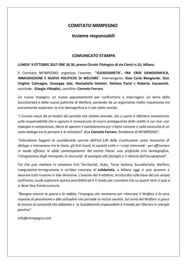 Comunicato stampa Sussidiarietà1