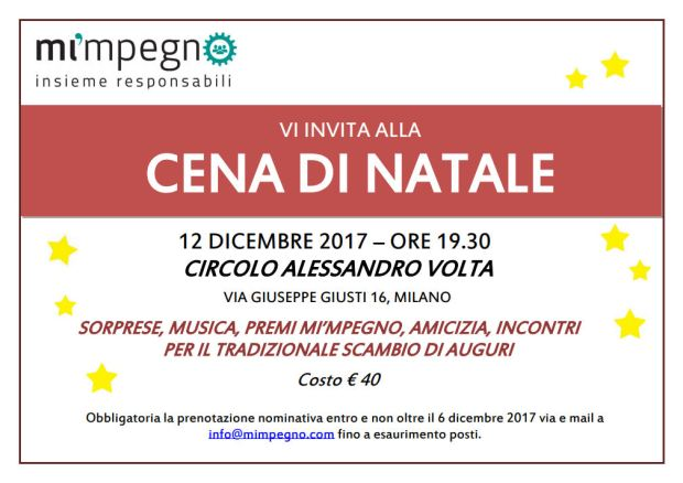 save the date Cena di Natale 12 dicembre 2017 ore 20